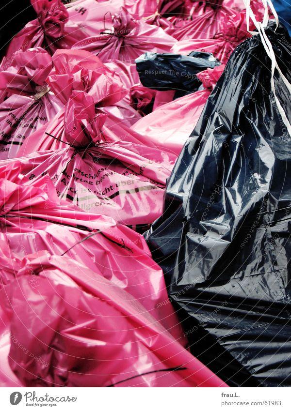 Black Nutrition Street Work and employment Pink Trash Things Sack Roadside Strike Labor union Garbage bag Household garbage