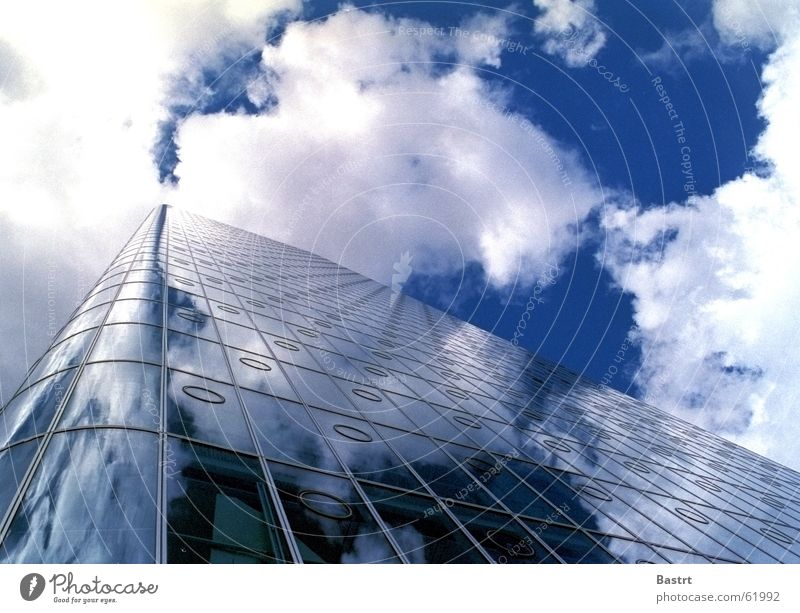 cloud catcher High-rise Facade Clouds Mirror Canary Wharf Empty Tower Glass Sky Reflection Gap Blue Sun