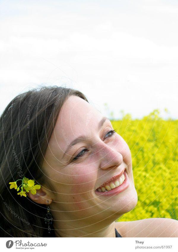 flower child Canola Flower meadow Field Yellow Portrait photograph Exterior shot Woman Brunette Happy Laughter Joy
