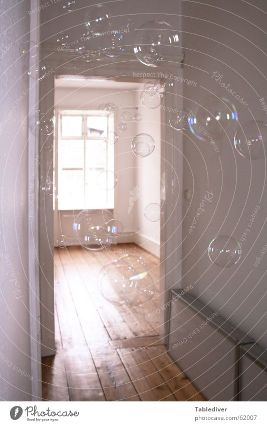 bubbles Soap bubble Hallway Window Light Doorframe Reflection Sunbeam Old building Bright smoked wallpaper Day