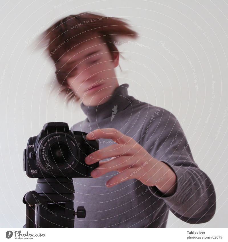 Your photo has been confirmed Tripod Photographer Planning Pushing Shake of the head Man Photography Hand Fingers Sweater Roll-necked sweater Closed eyes Camera