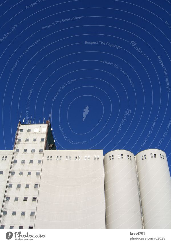 Blue-white upright White Building Silo Window Facade Sky Industrial Photography Bright