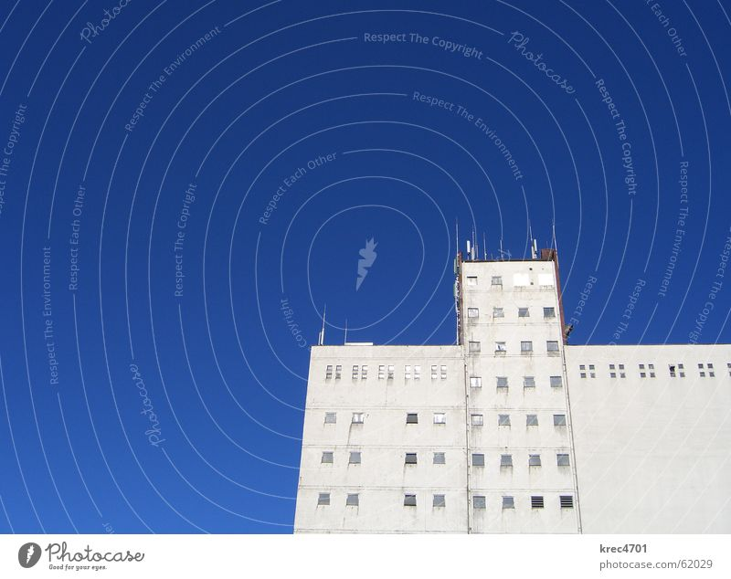Blue-White Building Silo Window Facade Sky Industrial Photography Bright