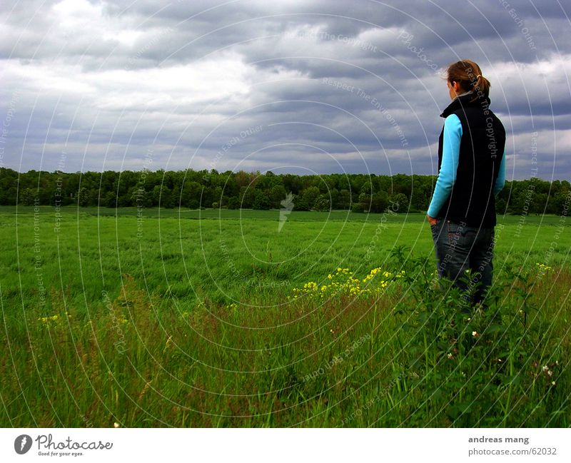 Watching the world Sky Clouds Storm Gray Bad weather Forest Grass Field Woman Stand Dreary Grief Horizon cloudy grey Far-off places distance alone Loneliness