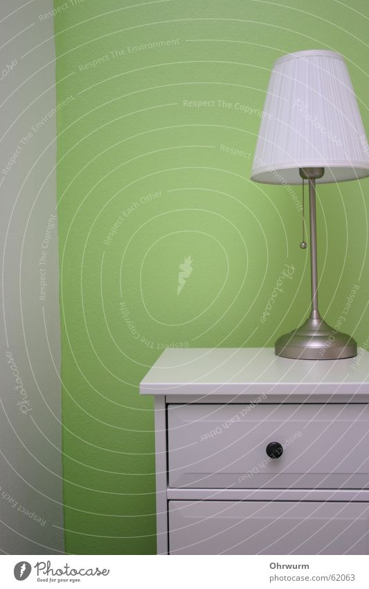 bedside table green white Green Fresh White Bedside table Lampshade Light Bedroom Drawer Chest of drawers Cupboard Varnished Wall (building) Calm Interior shot