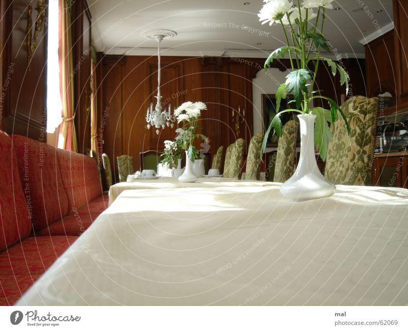 restaurant Restaurant Hotel Prenzlauer Berg Brunch Banquet Café Espresso Five star Noble Expensive Table Empty Clean Pure White Slick Folded Sofa Velvet Red