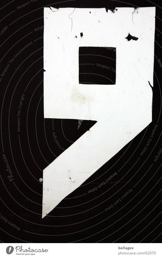 Old White Black Corner Broken Digits and numbers Square Sharp-edged 9 On the corner