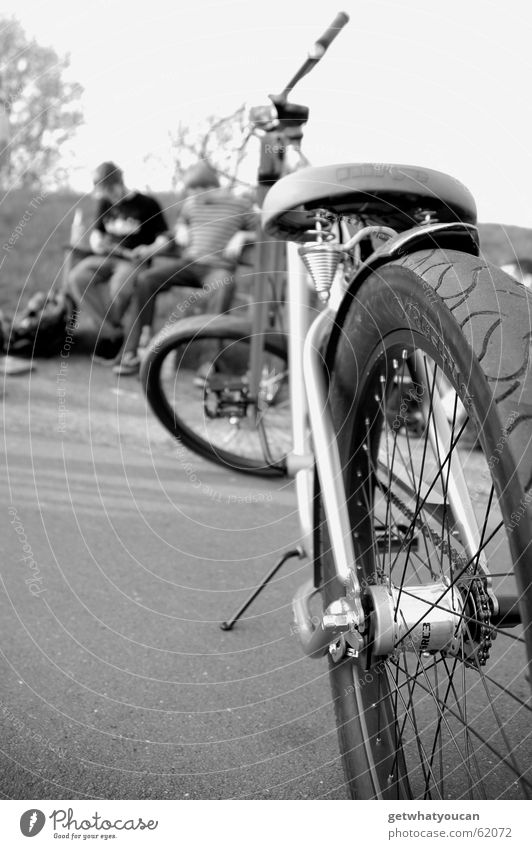 Short break Bicycle Park Calm Asphalt Stern Man Relaxation Closing time Bench Evening Black & white photo Nature Bicycle saddle