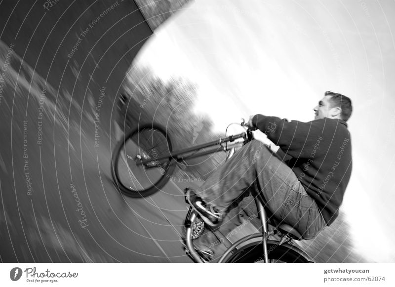 Misappropriated 1 Bicycle Sports ground Calm Asphalt Man Relaxation Closing time Speed Ramp Halfpipe Wood Blur Evening Black & white photo Nature Joy miniramp