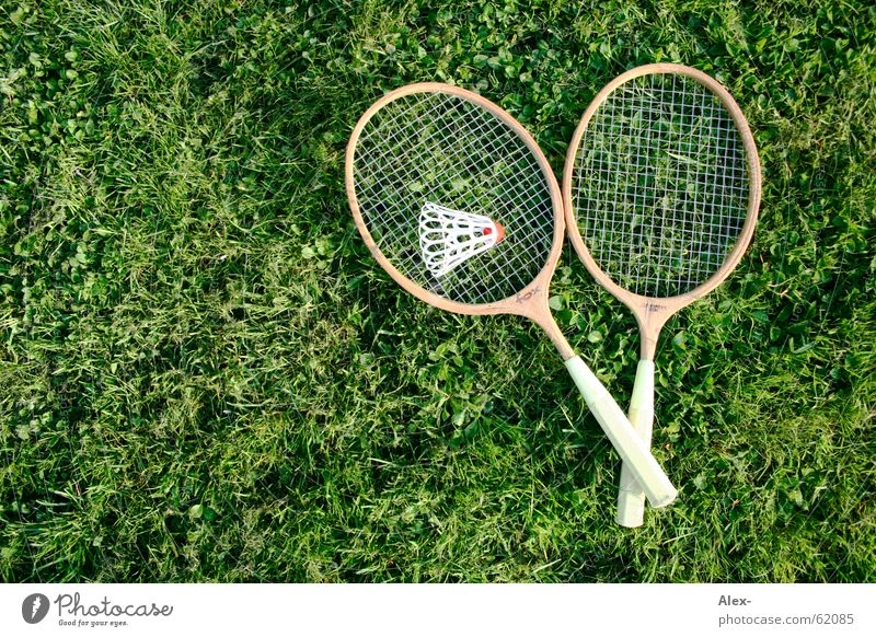 Counterstrike of the GDR Wood Badminton Grass Grating Quality Sports Lawn Ball Lie Old Copy Space left Object photography 2 In pairs Playing Shuttlecock