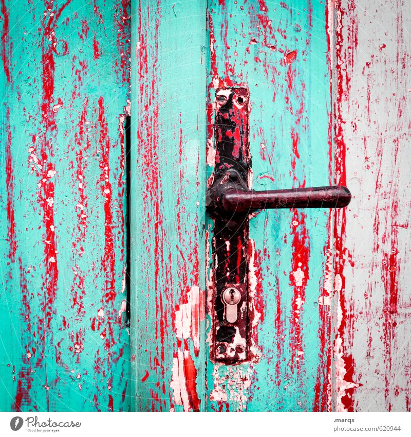 admittance Style Design Door Door handle Wood Metal Old Exceptional Broken Crazy Red Black Turquoise Colour Decline Change Target Expectation Entrance Closed