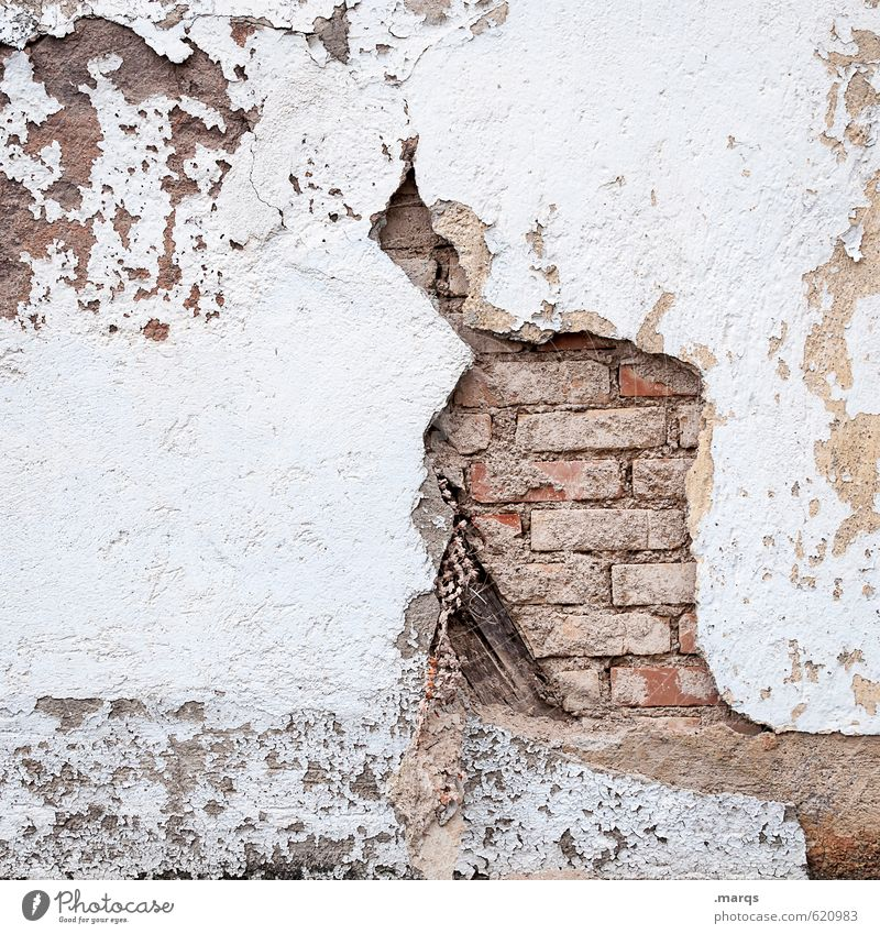 Crafty Wall (barrier) Wall (building) Brick Brick wall Old Simple Bright Broken Decline Transience Background picture Crack & Rip & Tear Colour photo