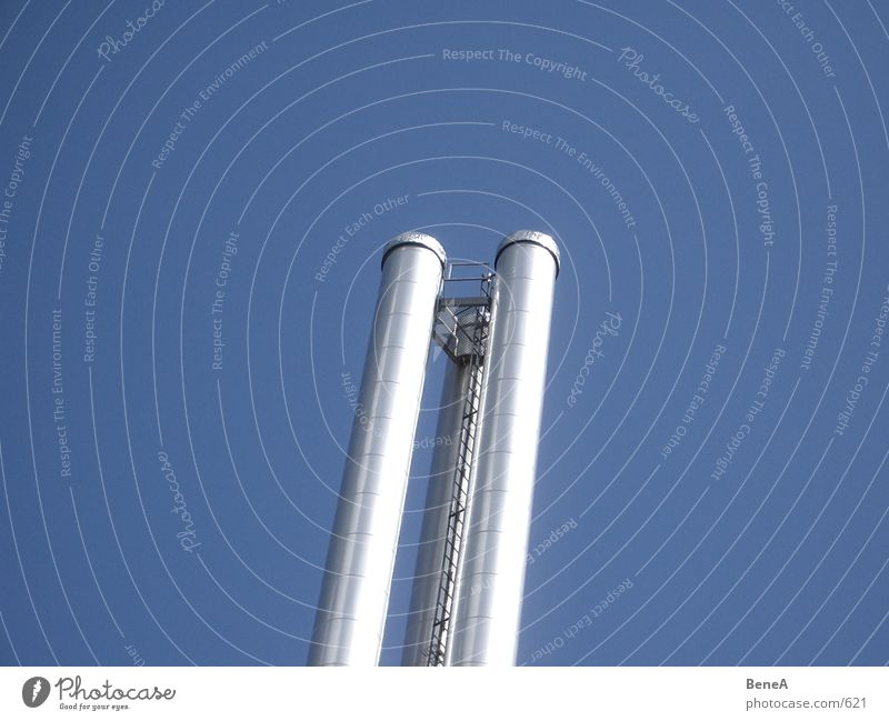 Look Up 2 Exhaust gas Chrome Glittering Environmental pollution Air Industry Modern Sky Dirty Chimney 3 Cloudless sky Parallel Towering Ladder Tall Round