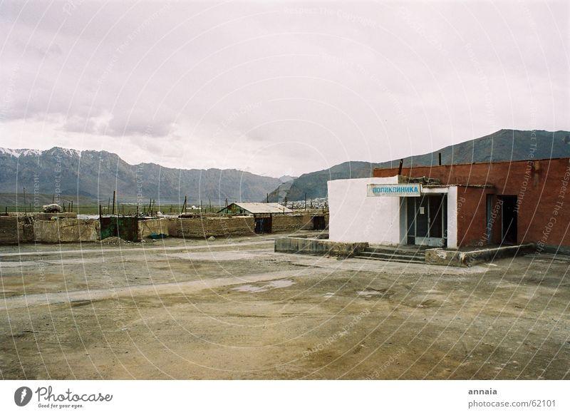 Mountain Gloomy Simple Hospital Rural Asia Soviet Union Kyrgyzstan Tajikistan Village square