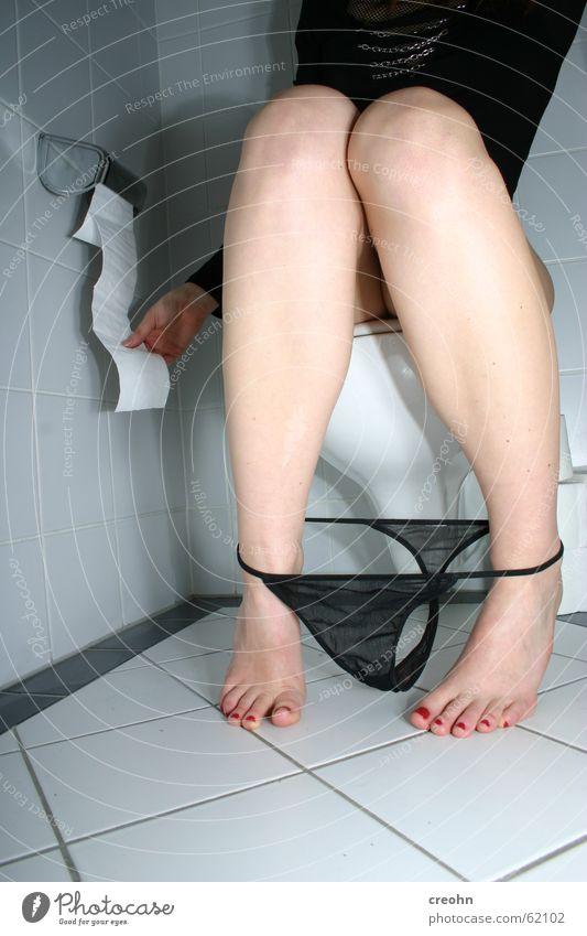 Woman Underwear Black Feet Legs Paper Bathroom Toilet Tile Intimacy Underpants Urinate Must Cosmetics Room Clothing