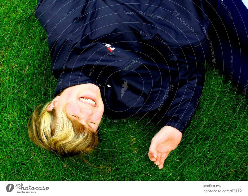 Beautiful Green Joy Meadow Grass Happy Laughter Lie