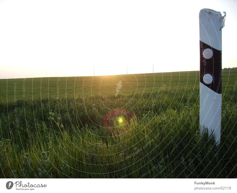 Nature Sun Street Meadow Freedom Lanes & trails Individual Roadside Reflector post