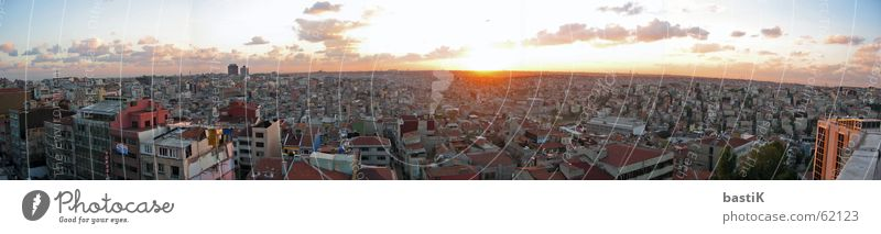 Istanbul Panorama Sunset Red Panorama (View) Town Near and Middle East Sky Large Panorama (Format)