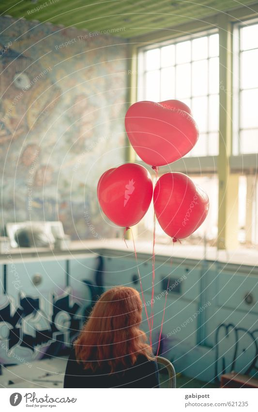 oh Valentin when are you coming Deserted Building Swimming pool Indoor swimming pool Facade Window Communicate Wait Brash Trashy Gloomy Blue Red Loneliness