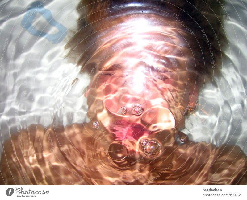 UNDER WATER - Portrait diving drowning suffocating Happy Life Swimming & Bathing Bathtub Dive Human being Man Adults Water Grief Distress Surface of water