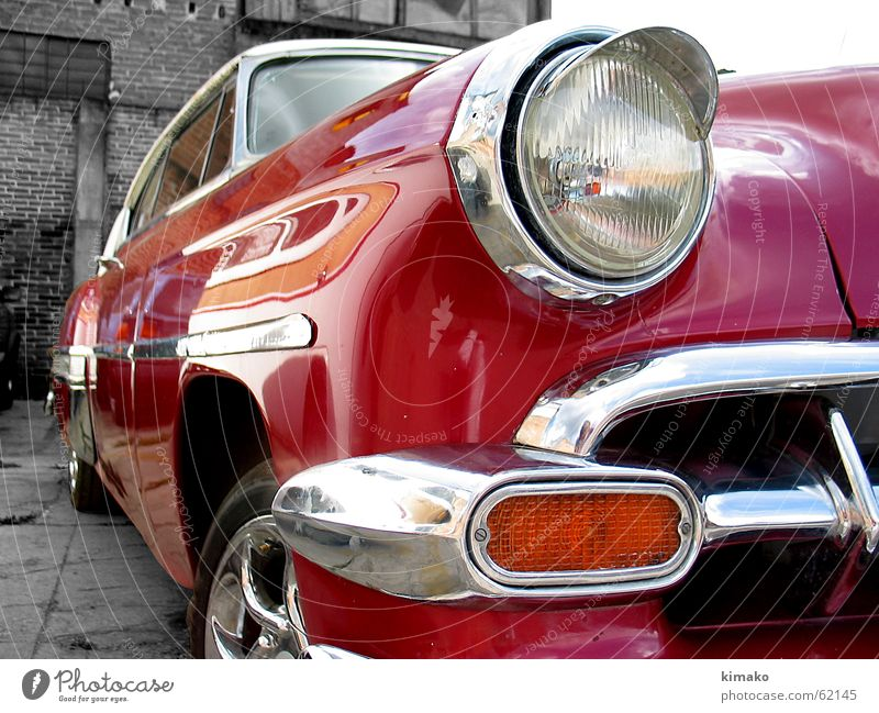 Old Red Car Bright Perspective Classic Beam of light