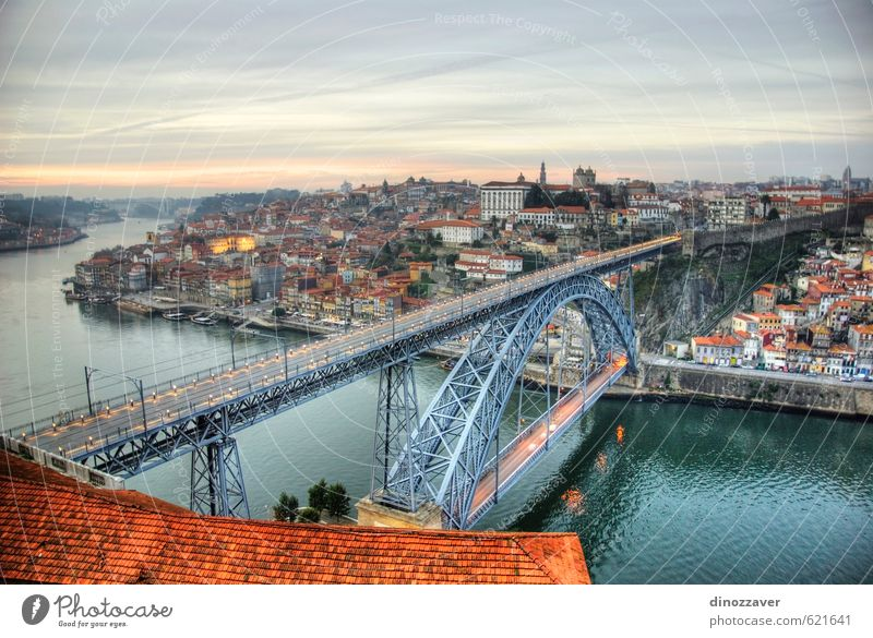 Porto, Portugal in HDR Vacation & Travel Tourism House (Residential Structure) Sky Hill River Small Town Bridge Building Architecture Transport Watercraft Old