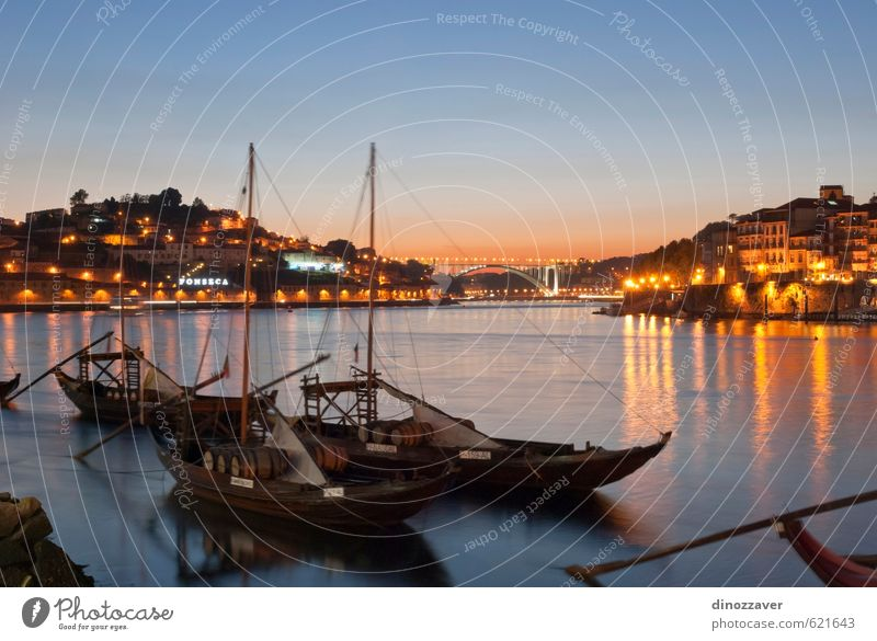 Wine boats on Douro river, Porto Vacation & Travel Tourism House (Residential Structure) Sky Hill River Small Town Building Architecture Transport Watercraft