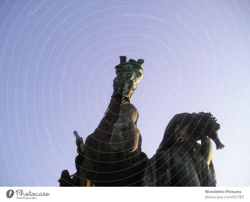 High horse Horse Koblenz Germany Monument Statue Impressive Overwhelming King Hoof Large corner Old Blue
