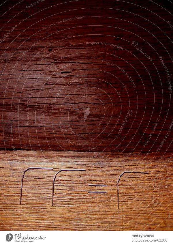 equation on wood Symbols and metaphors Paper clip Wood Dark brown Light brown Brown formal calculus Formula Metal Silver Wood grain wood picture