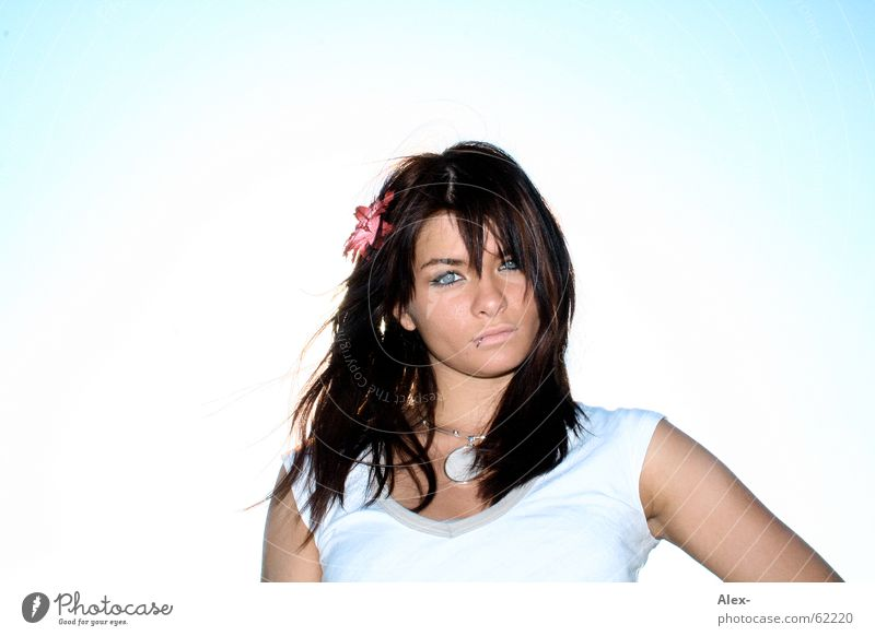 Woman Beautiful Sky Sun Blue Summer Cute Dazzle Alluring