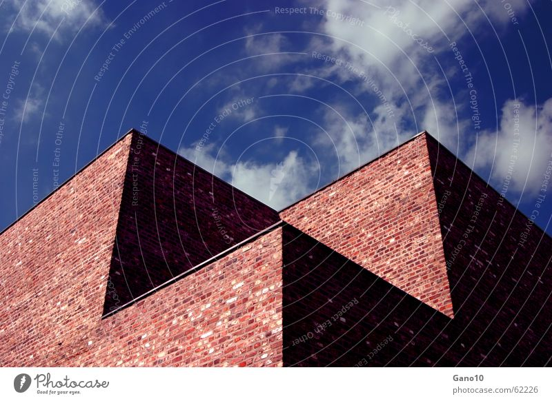 sky shadow cube Wall (barrier) Masonry House (Residential Structure) Building Clouds Sky Cold Loneliness Shadow museum island hombroich brick Clarity