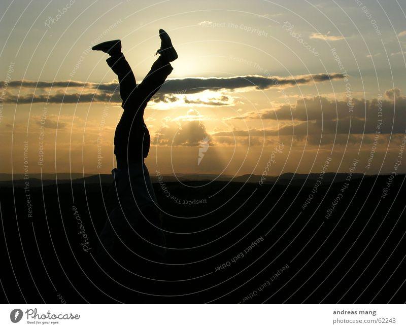 Man Sun Joy Clouds Mountain Feet Landscape Footwear Legs Lighting Walking Horizon To enjoy Dusk Enthusiasm Handstand