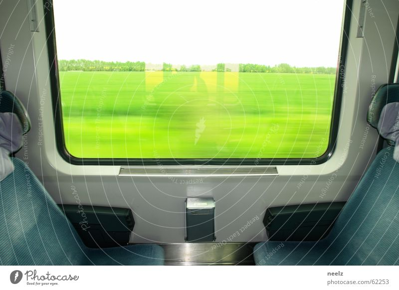 Railway Seating Window seat Public transit Roll Railroad Train compartment Green Vantage point Driving Transport Meadow Window frame Services Detail get out