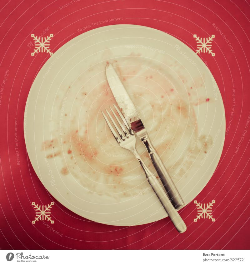 After the meal Food Nutrition Lunch Dinner Banquet Crockery Plate Cutlery Knives Fork Dirty Porcelain Metal Glittering Second-hand Empty Eaten Meal Red White