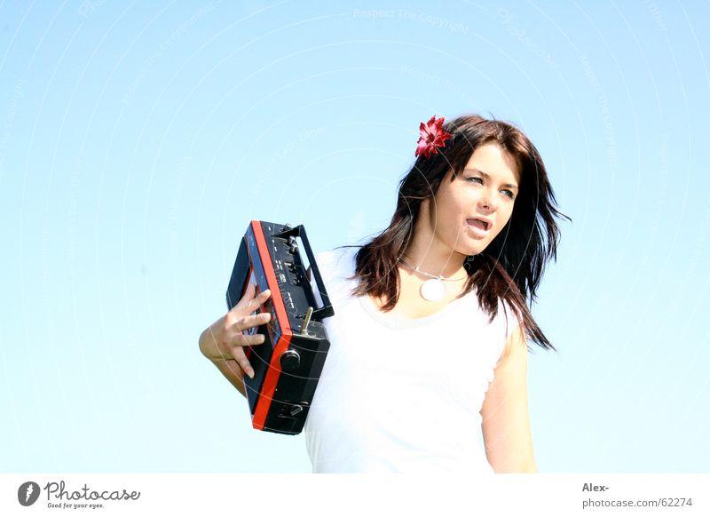 Woman Beautiful Old Sky Sun Summer Joy Music Retro Listening Cute GDR Radio (broadcasting) Sing Karaoke