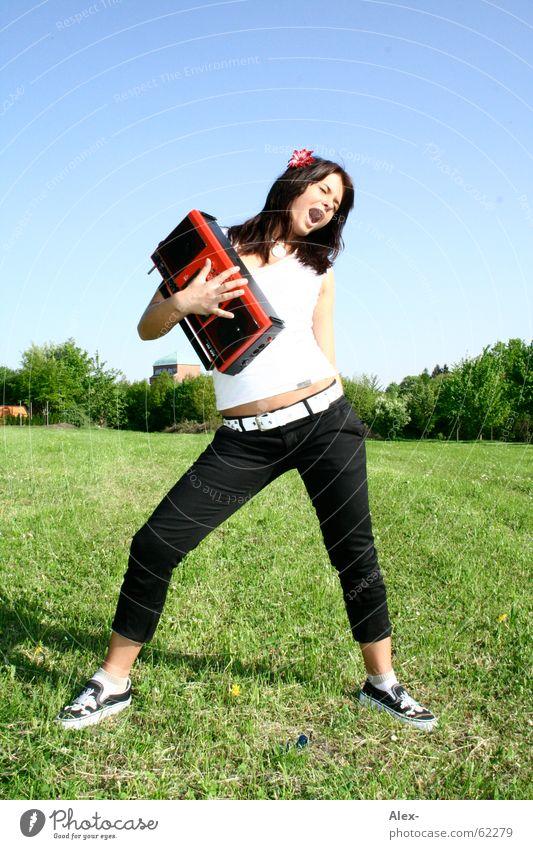 Woman Nature Beautiful Sky Green Blue Meadow Grass Music Dance Media Lawn Stand Scream Listening Fatigue