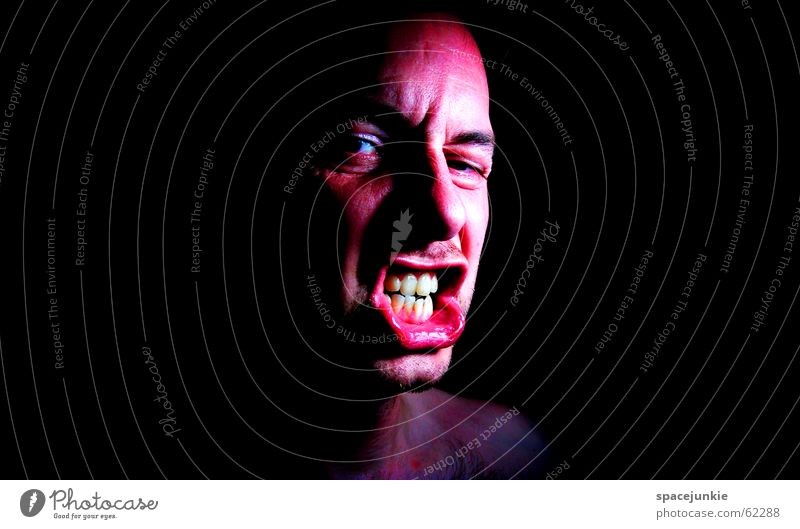Impulsive people know no boundaries! (2) Portrait photograph Man Freak Fear Alarming Scream Dark Black Show your teeth Evil Crazy Human being Face Force