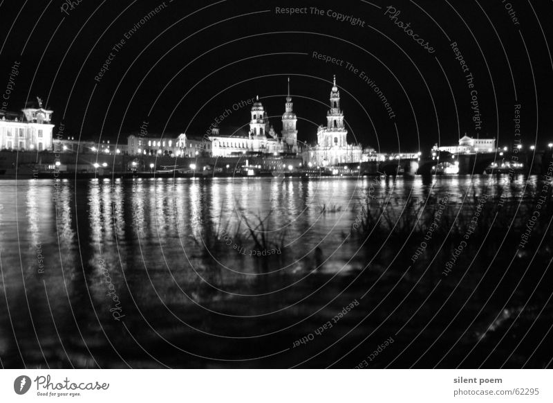 Dresden night silouette Night Light Town Elbe River