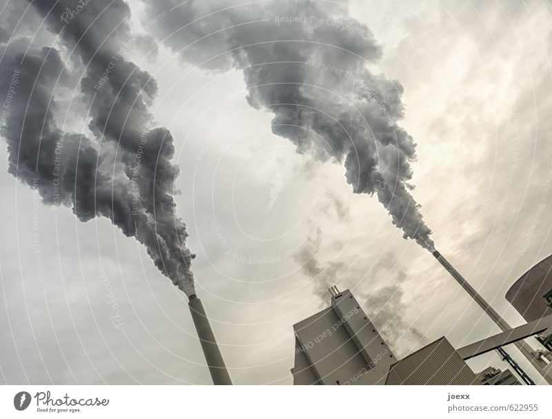 Sky City White Clouds Black Environment Gray Energy industry Climate Future Industry Smoking Factory Smoke Environmental pollution Bad weather