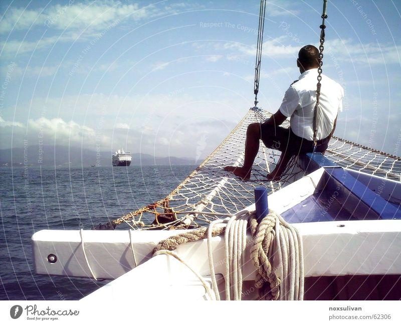 Sky Ocean Summer Calm Waves Wind Rope Peace Concentrate Meditation Blue sky Embellish Seaman Uniform Parking level Cruiser