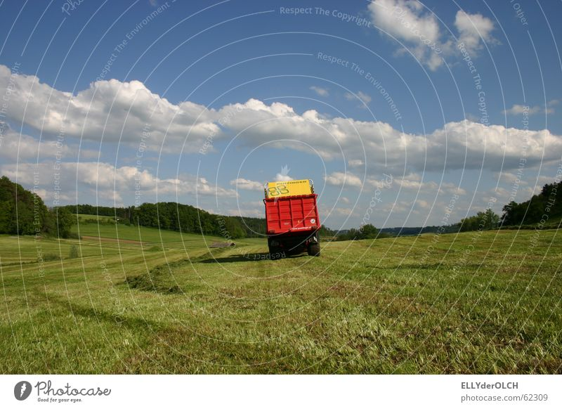 Summer Clouds Meadow Grass Landscape Harvest Tractor Feed Silo Closing time Lawnmower Agricultural machine
