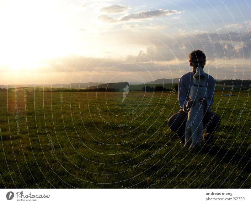 Man Sun Joy Calm Clouds Mountain Dog Landscape Friendship Together Lighting Horizon Trust Dusk Crouch Like