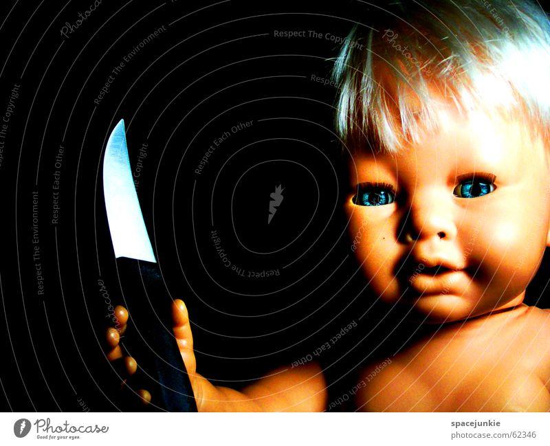 Blue Eyes Blonde Fear Sweet Threat Cute Toys Creepy Evil Doll Knives Alarming Horror film Chucky