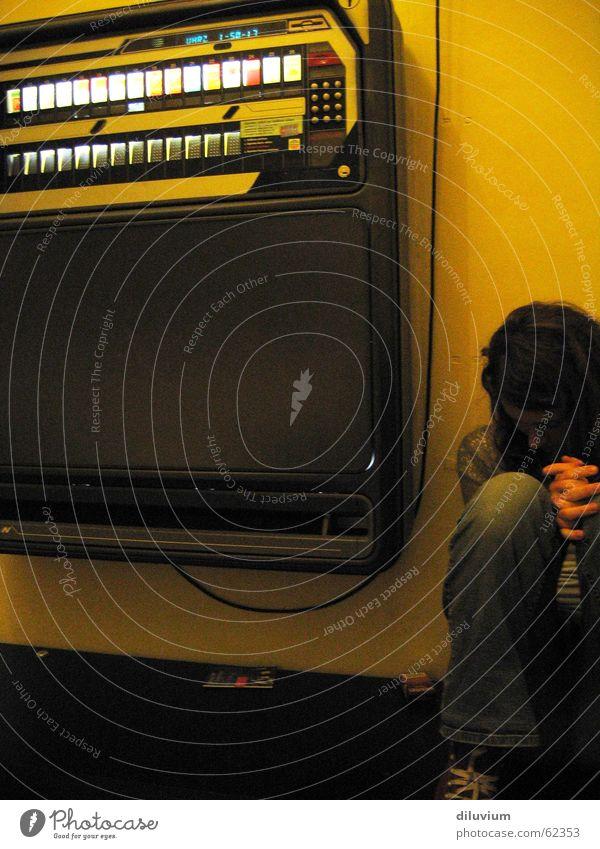 lost in the darkest corner Cigarette machine Yellow Wall (building) Hand Dark Light Cable Sit