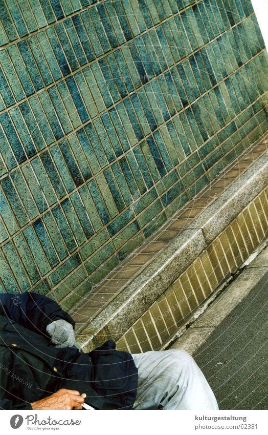Man Loneliness Street Cold Sadness Wait Empty Grief Bench Smoking Railroad tracks Tile Jacket Cigarette Japan Male senior