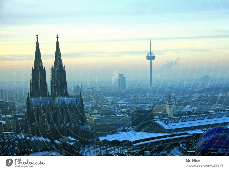 Alaaf you Environment Sky Horizon Winter Climate Town High-rise Dome Train station Homesickness Cologne Cathedral Colonius - television tower Downtown Skyline