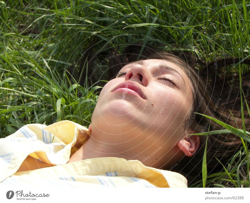 Relax II Woman Grass Meadow Summer Sun Relaxation Calm Green Well-being Sleep Lawn Nature Freedom feel good