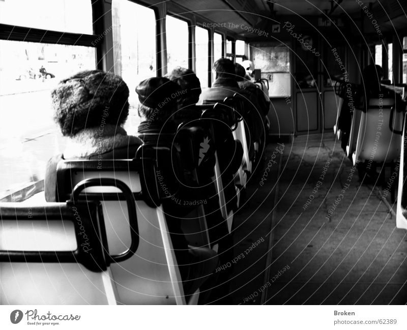 Never Alone, Just On Your Own... Commuter trains Black White Human being Window Cap Gloomy Seating Railroad Loneliness handles Old Row Photos of everyday life