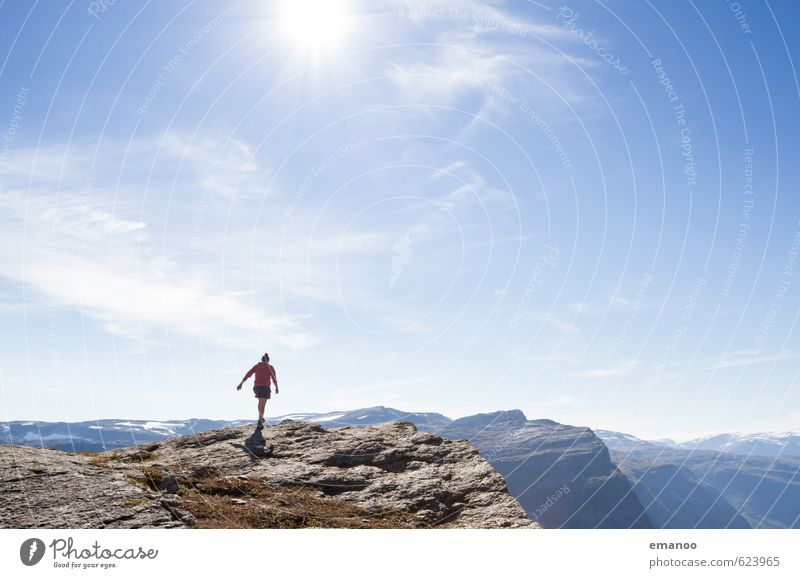 Woman on the cliff Lifestyle Style Joy Vacation & Travel Tourism Adventure Far-off places Freedom Mountain Hiking Human being Feminine Adults Body 1 Nature