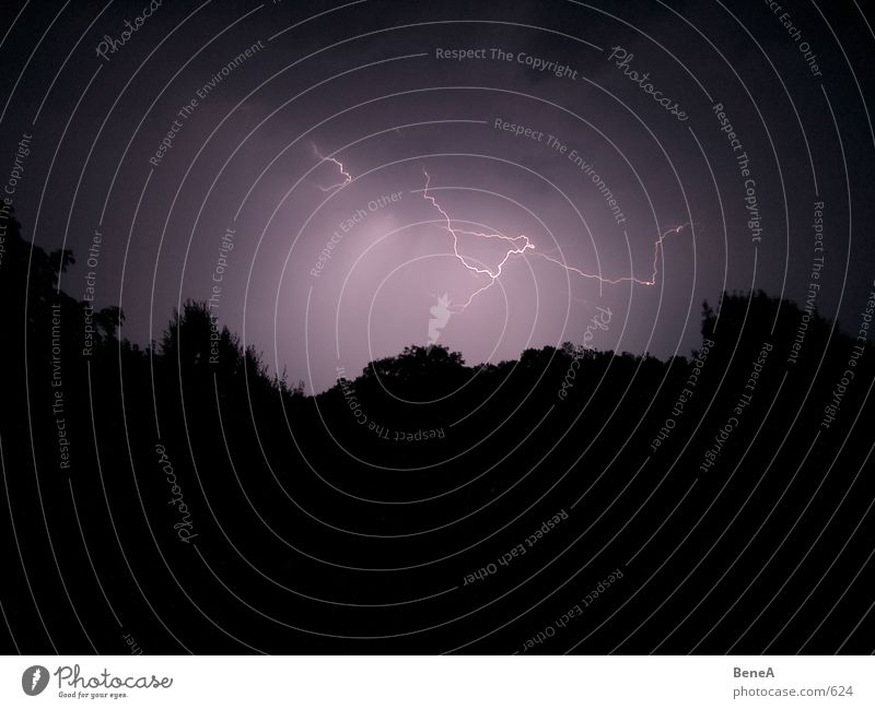 Lightning & Thunder Gale Clouds Night Storm Night sky Force of nature Violet Black Dangerous Awareness Dark Silhouette Electricity Thunder and lightning Rain